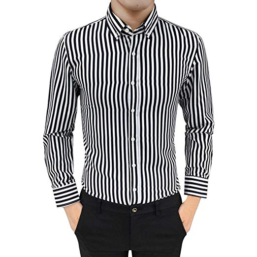 Striped Shirt Binmer Mens Button Down Suit Fit Long Sleeve Casual