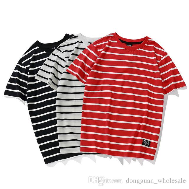 Fashion Striped T Shirts 2018 Men Women Skateborad Red White Striped