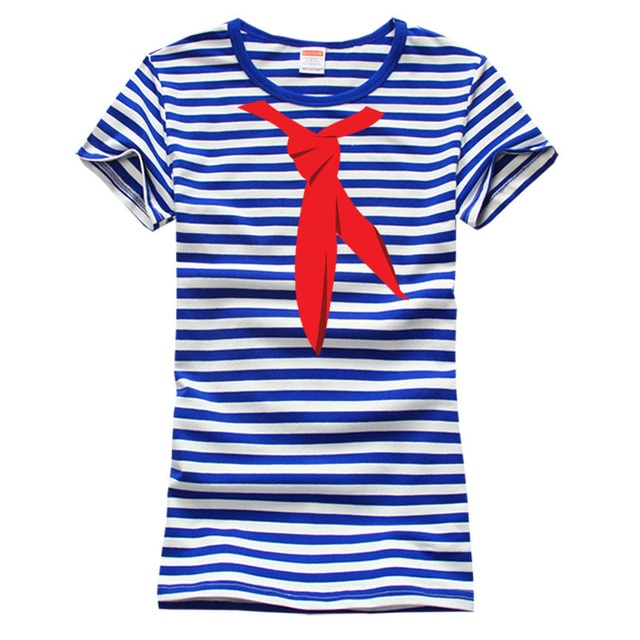 Blue White Stripes Sea Striped Shirt Onlykiss T shirt Vintage Red