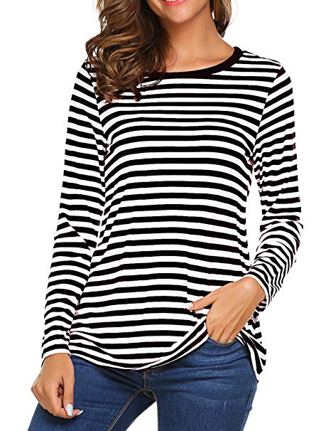Amazon.com: OURS Women's Round Neck Long Sleeve Basic T-Shirt