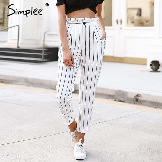 Simplee Streetwear striped harem pants capri Ruffle loose casual