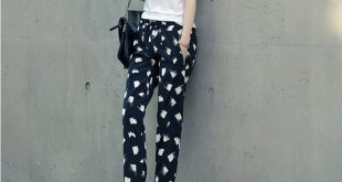 Women's Chiffon Summer Pants Trousers with White Squares Print