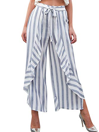 Missy Chilli Women's Chiffon Stripe Wide Leg Pants Loose High