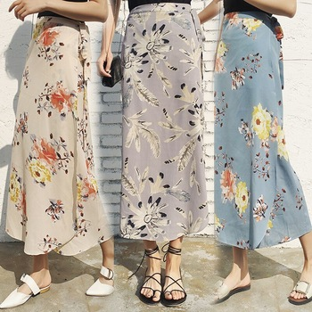 Casual Long Skirt Summer 2018 Ladies Chiffon Irregular Floral Beach
