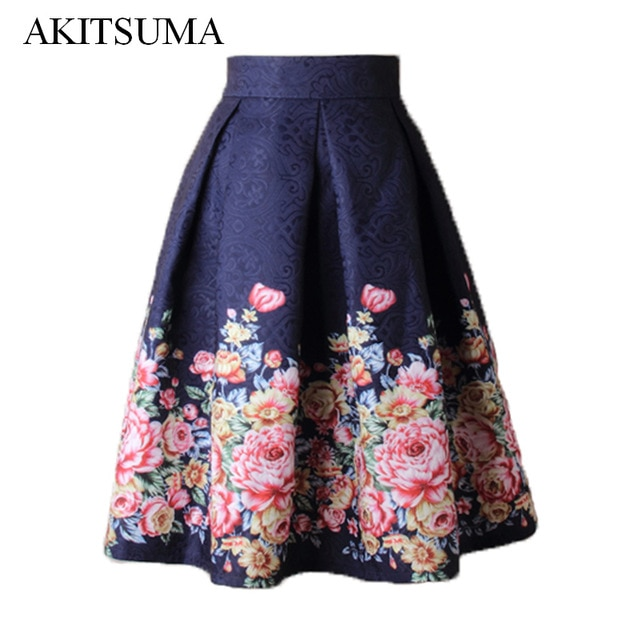 Summer Skirts Women Midi High Waist Floral Skirt Ball Gown Vintage