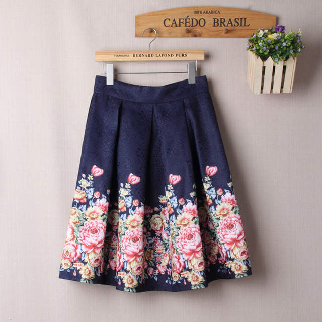 Online Shop Summer Skirts Women Midi High Waist Floral Skirt Ball