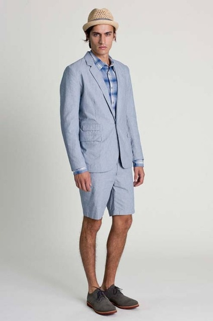 2018 Latest Coat Pant Designs Light Blue Casual Summer Suits For Men