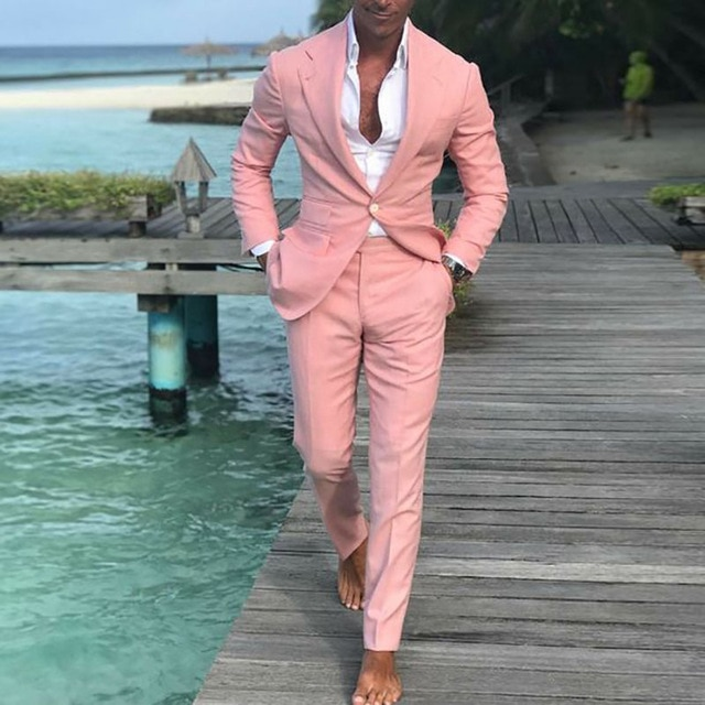 2018 beach men suit casual pink groom wearing summer suits for