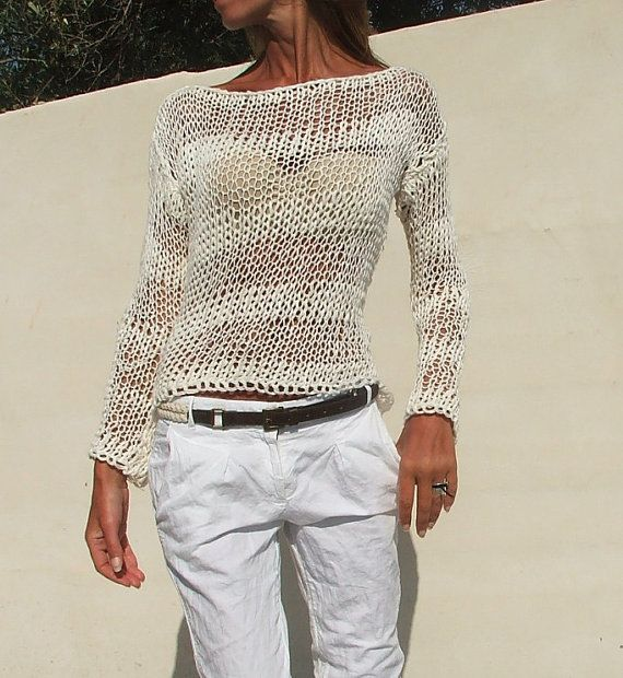 white sweater White cotton mix loose knit stripe sweater summer