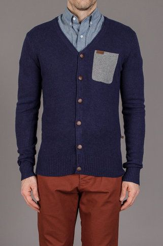 Makia Knit Cardigan with Single Breast Pocket in Navy | His Wear