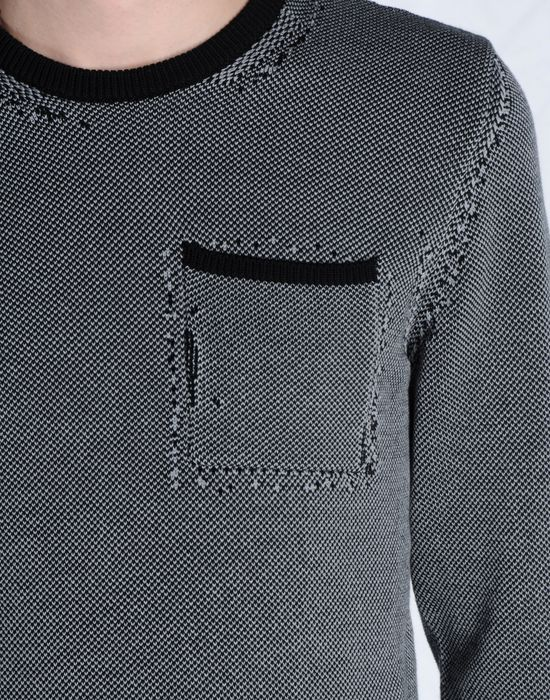 Maison Margiela Distressed Cotton Sweater With Breast Pocket