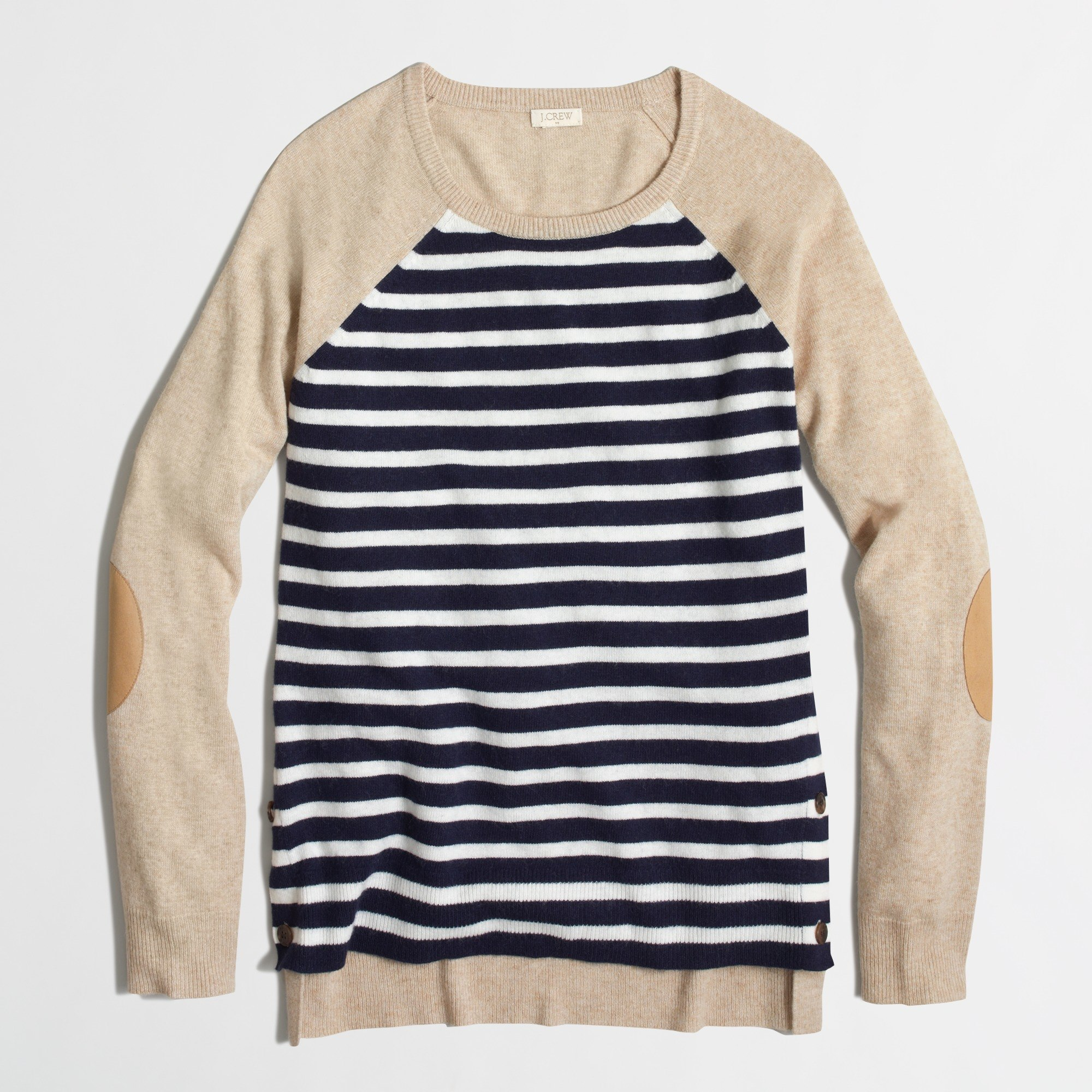 Factory side-button elbow-patch sweater in stripe : FactoryWomen