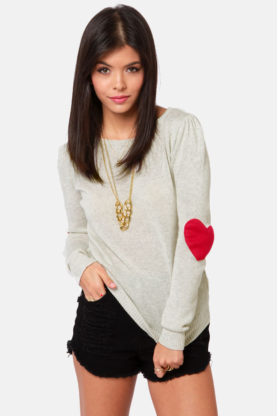 Cute Beige Sweater - Pullover Sweater - Elbow Patch Sweater - $42.00