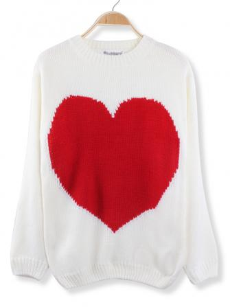 casual big red heart printed knitted pullover sweater at Banggood sold
