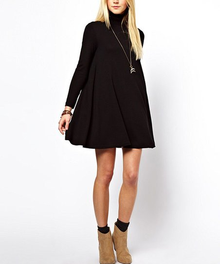 Solo La Fe Black Turtleneck Swing Dress - Women | Zulily