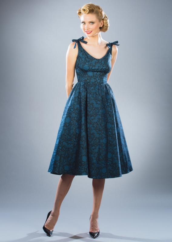hollis swing dress blue lace