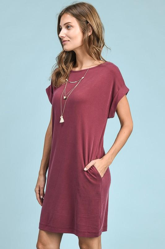 Buy Cuffed Sleeve T-Shirt Dress at ROUTE 32 for only $ 24.99