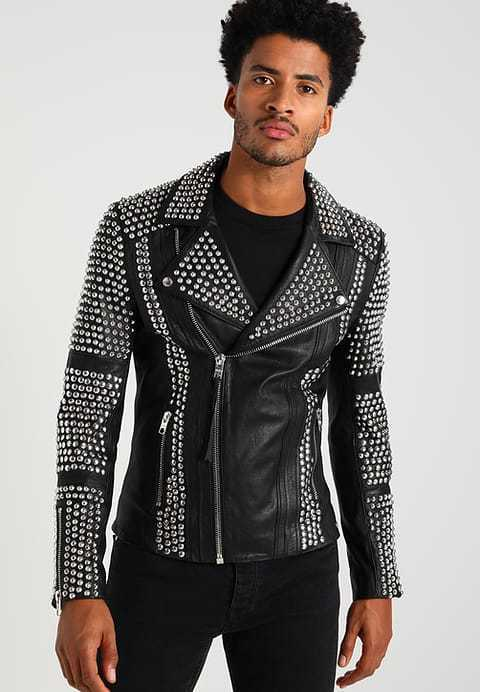 TIGHA Leather Jacket Black Silver BALE Size L Zip Pockets Beads