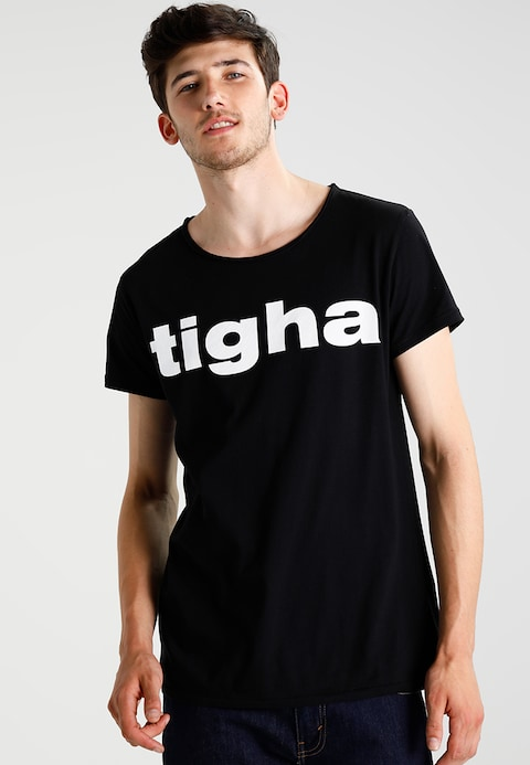 Tigha LOGO - Print T-shirt - black - Zalando.co.uk