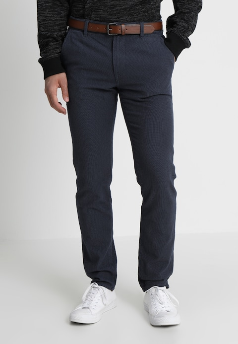 TOM TAILOR DENIM BASIC YARN DYE WITH BELT - Chinos - night sky blue