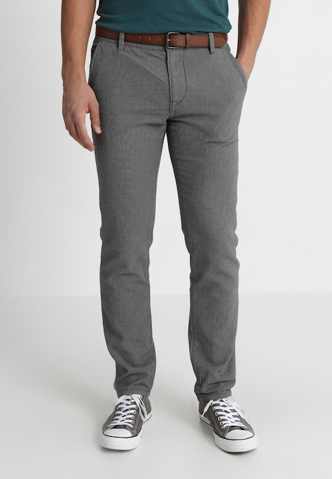 TOM TAILOR DENIM BASIC YARN DYE WITH BELT - Chinos - somber grey