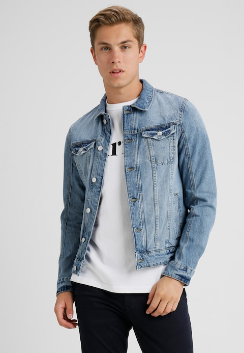 men TOM TAILOR DENIM Denim jacket - destroyed light stone wash