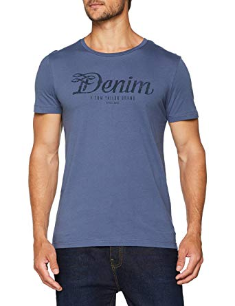 Tom Tailor Denim Men's T-Shirt Mit Rundhals Und Tom Tailor Slogan