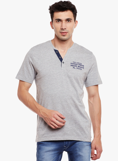 Buy Tom Tailor Grey Solid Henley T-Shirt Online - 2720638 - Jabong