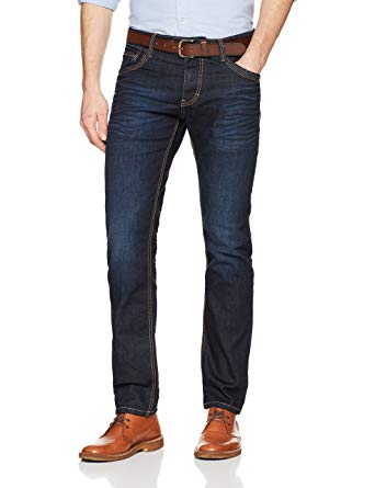 Tom Tailor Men's Saddle Stitch, Marvin Straight Jeans, Blue (Dark