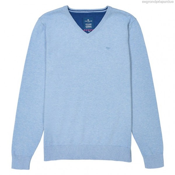 TOM TAILOR Crew Neck Fine Gauge Knit Jumper - Blue - Mens Knitwear
