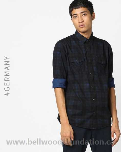 Blue & Black Checked Shirt with Flap Pockets For Men - Tom Tailor