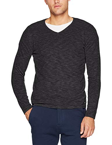 Tom Tailor Men's Basic V-Neck Sweater Jumper, Grey (Cyber Grey 2740