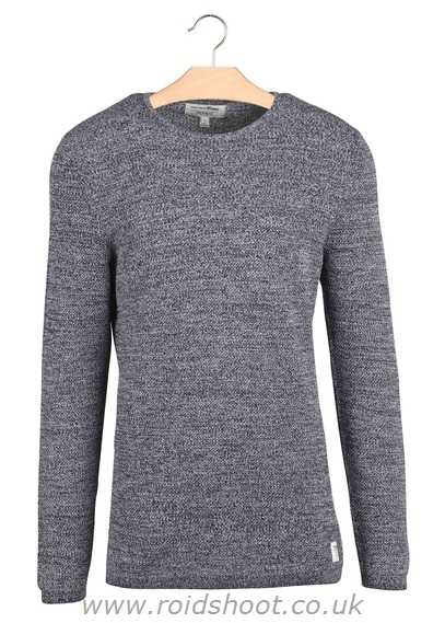 Men TOM TAILOR NIGHT SKY BLUE ROUND-NECK COTTON MOTTLED-KNIT SWEATER