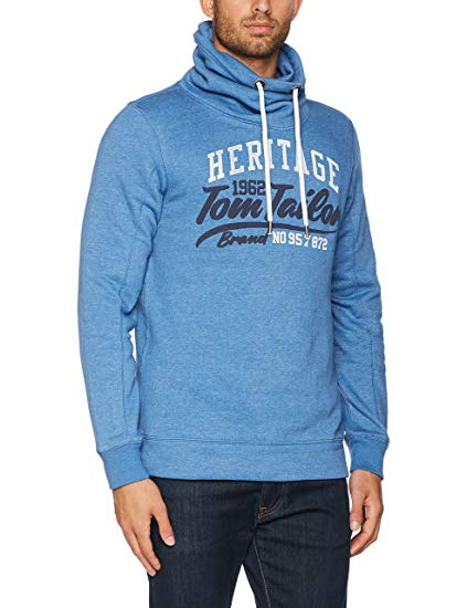Tom Tailor Men's Basic Sweater with High Collar Sweatshirt, Blue