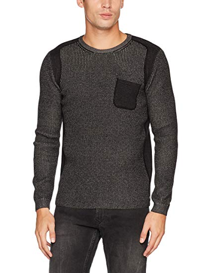 Tom Tailor Men's Plated Sweater with Pocket Jumper, Grey (Cyber Grey