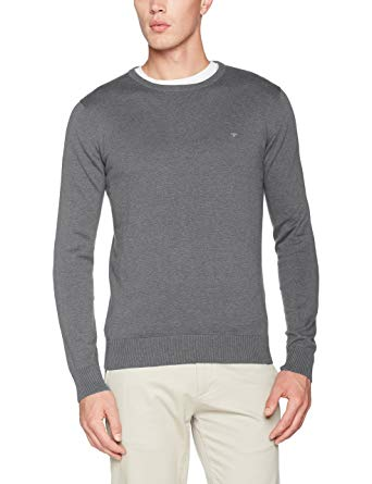 Tom Tailor Men's Basic Crew-Neck Sweater Sweatshirt, Blue (Night Sky