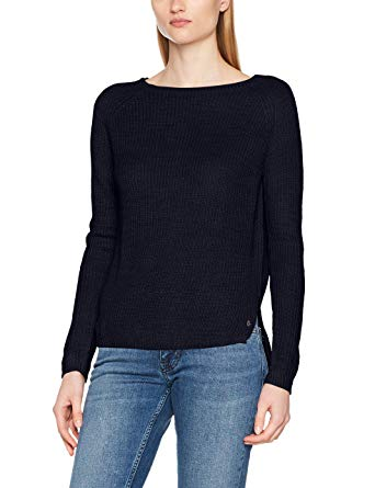 Tom Tailor Denim Women's Sweater with Back Slit Jumper, Blue (Real