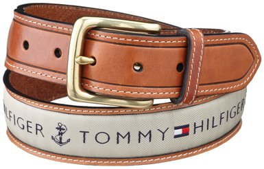 Tommy Hilfiger Men's Center Ribbon Belt - Khaki - 11TL02X032 | eBay