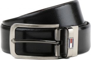 Tommy Hilfiger Men Formal Black, Brown Genuine Leather Reversible