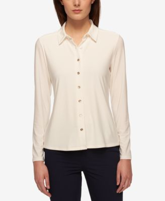 Tommy Hilfiger Point-Collar Blouse - Tops - Women - Macy's