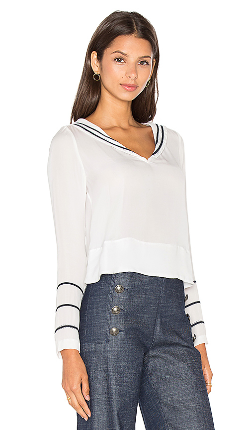 Tommy Hilfiger Gigi for Hilfiger Silk Sailor Blouse in Snow White