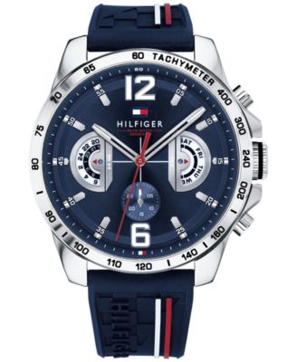 Tommy Hilfiger Men's Navy Silicone Strap Watch 46mm, Created for