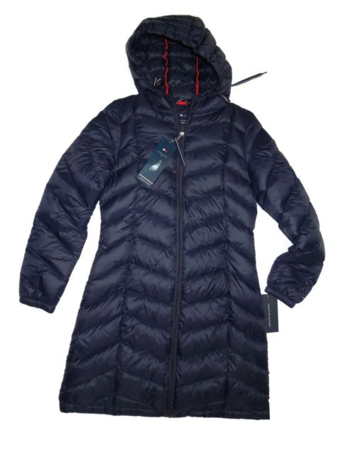 Tommy Hilfiger Women's Long Hooded Packable Down Coat W/ Contrast