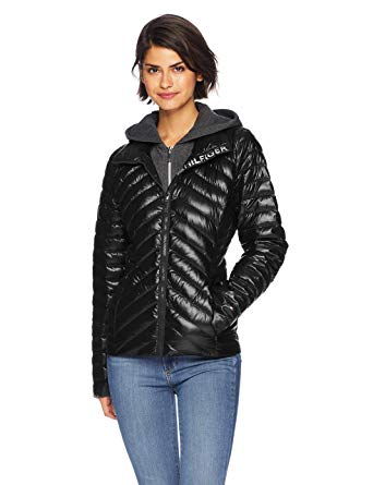 Amazon.com: Tommy Hilfiger Women's Short Packable Down Jacket Logo