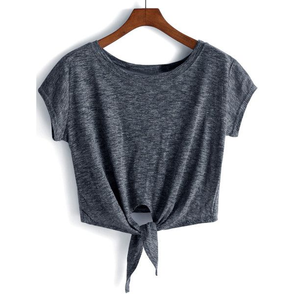 Dark Grey Knotted Crop T-Shirt ($9.99) ❤ liked on Polyvore