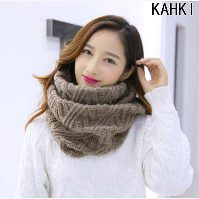 Tube Scarf For Women Winter Warm Knitted Scarves Collar Cachecol