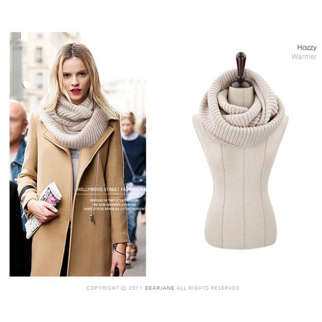 New 2018 Knitted Winter Scarf Women Warm Ring Fashion Solid Color