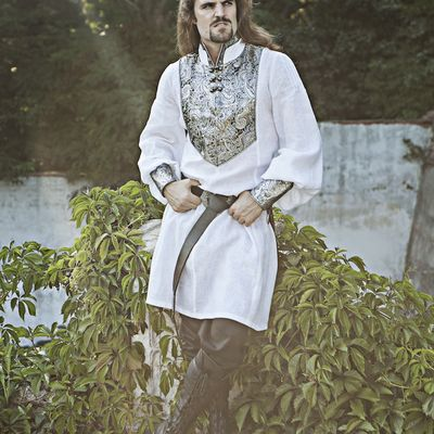 Medieval Wedding Men's Shirt. Available in: black fine linen, white