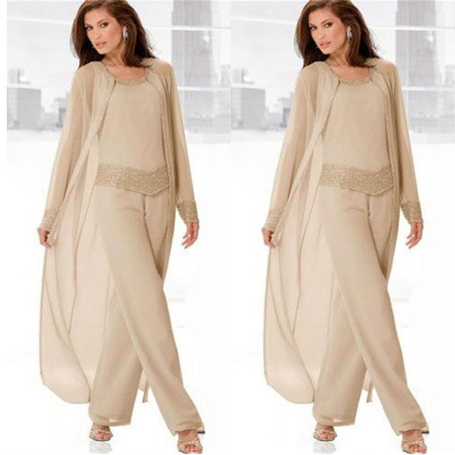 Champagne Mother of the Bride Dresses Pants Suit With Long Jacket