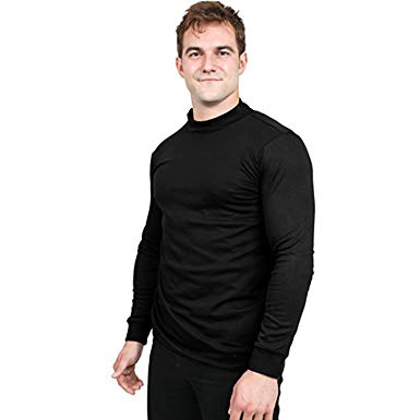 Utopia Wear Premium Cotton Interlock Mock Turtleneck Men T-Shirt